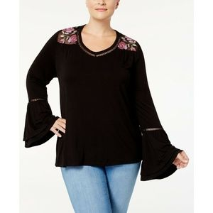 Style & Co Tops - Style & Co Black Embroidered Lantern Sleeve Top